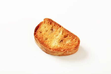 toasted: Crunchy slice of toasted bread