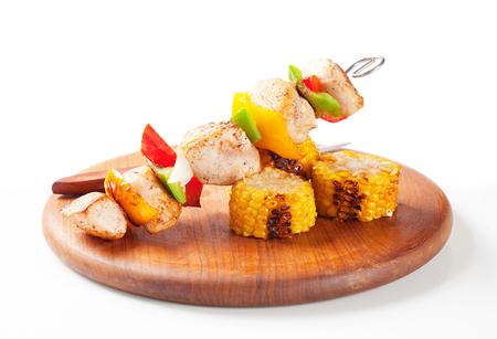 the shish kebab: Chicken Shish kebab and sweet corn