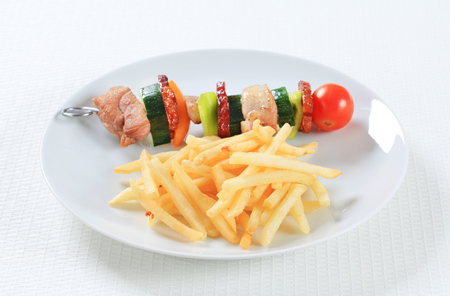 shish: Shish kebab with French fries