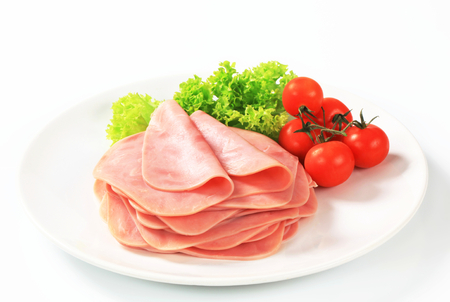 thinly: Stack of thinly sliced ham Stock Photo