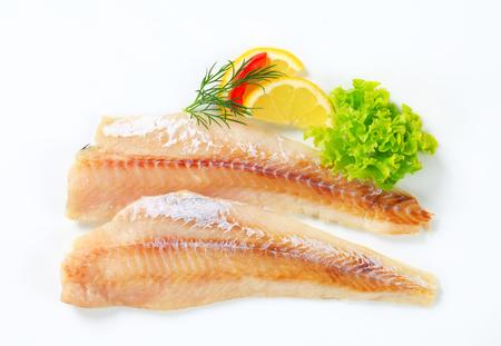 whitefish: Studio shot of fresh fish fillets