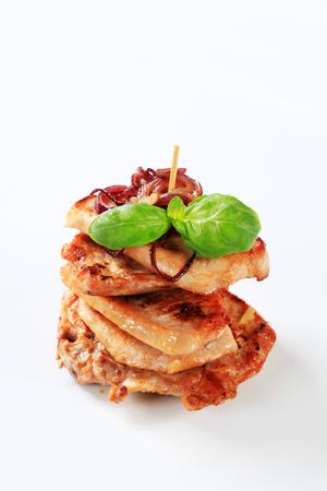 cutlets: Stack of pan fried pork cutlets