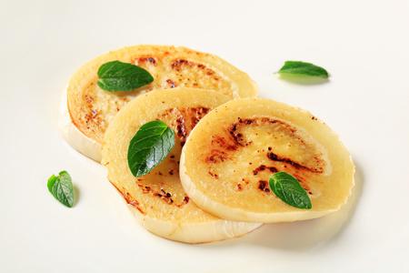 aubergine: Slices of pan fried aubergine