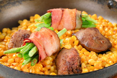 sweetcorn: Sweetcorn with fried chicken liver and bacon-wrapped green beans