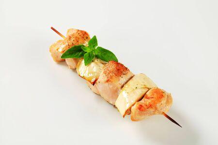aubergine: Chicken and aubergine skewer - studio shot Stock Photo