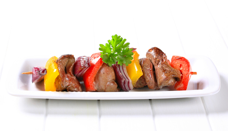 skewer: Chicken liver and vegetables on skewer Stock Photo