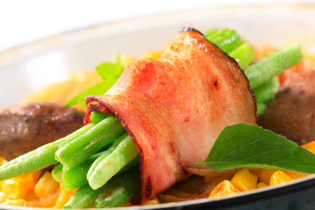 sweetcorn: Sweetcorn with fried chicken liver and bacon wrapped green beans