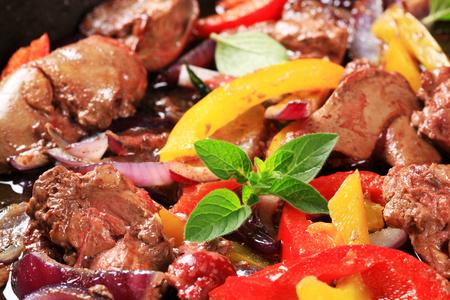 stir fry: Chicken liver and bell pepper stir fry
