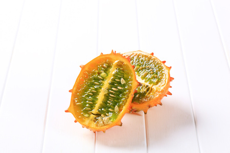 hedged: Kawani fruit - Horned melon Stock Photo