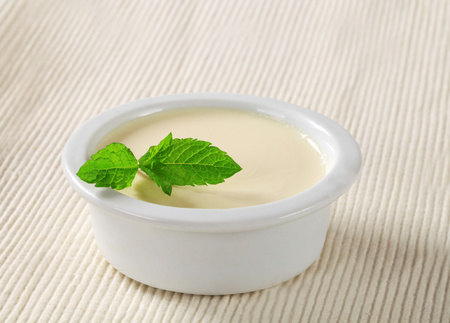 blancmange: Panna cotta served in a small dish Stock Photo