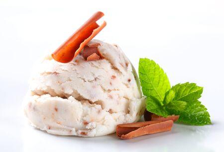 stracciatella: Scoop of stracciatella ice cream topped with chocolate shavings Stock Photo
