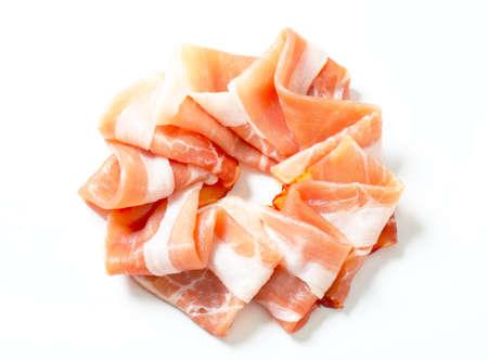 parma ham: Thin slices of Parma ham Stock Photo
