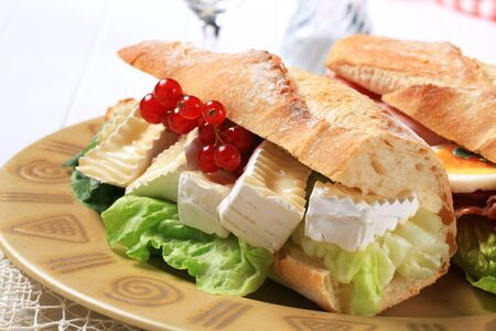 rind: Sub sandwich with white rind cheese and lettuce
