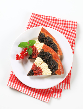 cheese cake: Traditional Czech kolache with cottage cheese, poppy seeds and jam