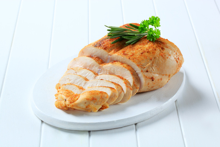 Chicken breast rubbed with garlic paste 写真素材