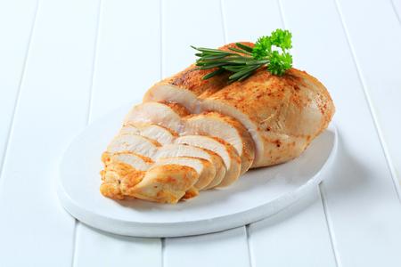 닭 가슴살과 마늘 붙여 넣기 문지름 스톡 콘텐츠