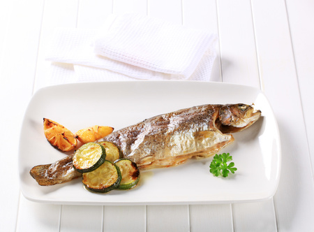 courgette: Oven baked trout with lemon and courgette
