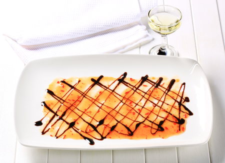 chilli sauce: Sweet chilli sauce with balsamic vinegar on plate