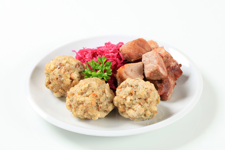 tyrolean: Dish of roast pork with Tyrolean dumplings and red cabbage