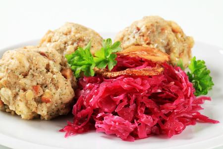 red braised: German bread dumplings with braised red cabbage