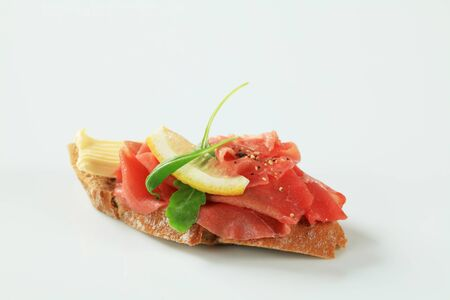 faced: Beef Carpaccio open faced sandwich