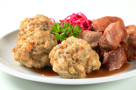 tyrolean: Dish of roast pork with Tyrolean dumplings and red kraut