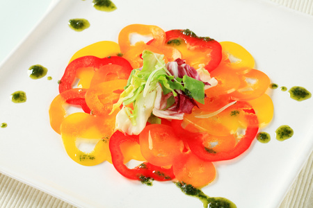 thinly: Thinly sliced bell peppers with pesto Stock Photo
