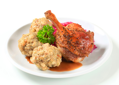 tyrolean: Dish of roast duck leg with Tyrolean dumplings and red cabbage