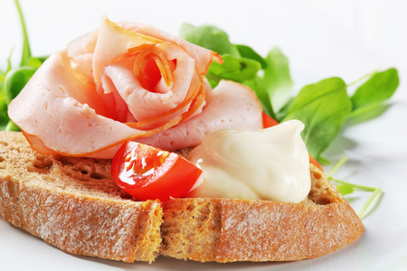 salad greens: Bread with ham and salad  greens
