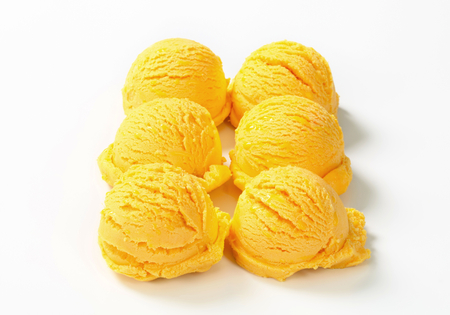 custard flavor: Six scoops of yellow ice cream arranged in two rows