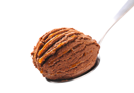 fudge: Chocolate fudge ice cream on spoon