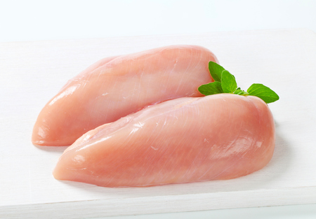 Raw skinless chicken breast fillets
