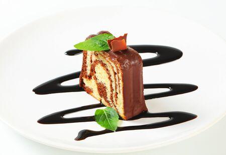pound cake: Marble pound cake with chocolate glaze