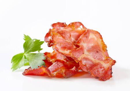streaky: Crispy slices of bacon Stock Photo