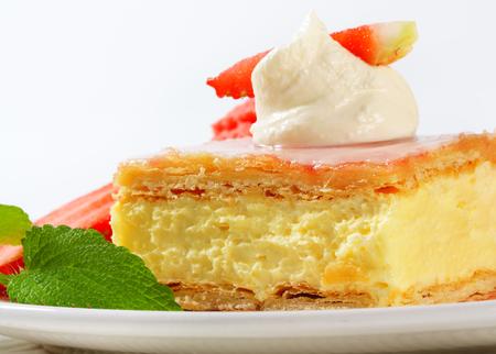 custard slice: Custard (Vanilla) Slice topped with sugar glaze