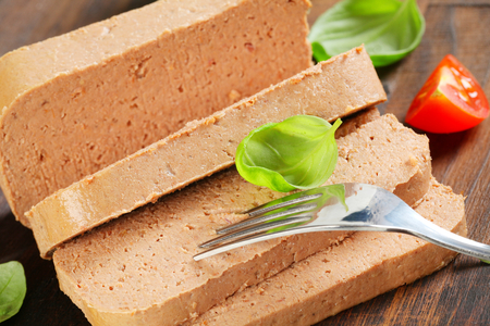 pate: Delicious pate on wooden table Stock Photo