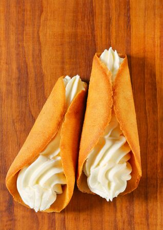 gingerbread cookies: Czech cone-shaped gingerbread cookies (Stramberk ears) filled with whipped cream