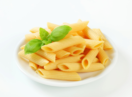 portion: Portion of cooked penne pasta