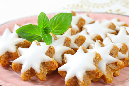 frosting': Cinnamon star cookies glazed with frosting