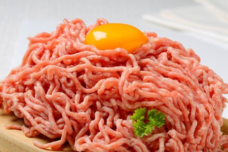 mincing: Raw minced meat and egg yolk