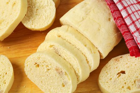 side dish: Side dish - Slices of white bread dumpling