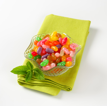 jelly beans: Assorted jelly beans in a glass bowl