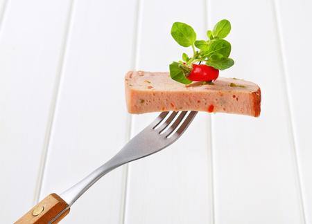 pastel de carne: Rebanada de pastel de carne picante en el tenedor