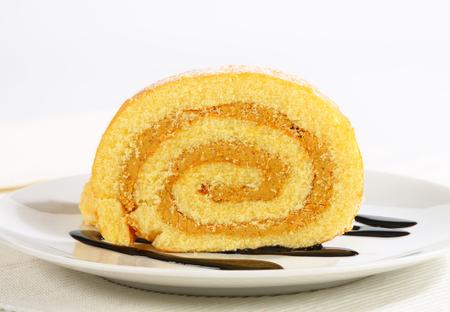 swiss roll: Swiss roll with peanut butter cream Stock Photo