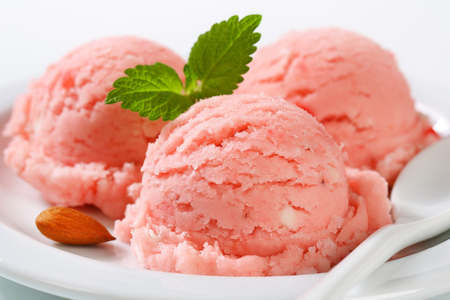 sorbet: Three scoops of strawberry sorbet