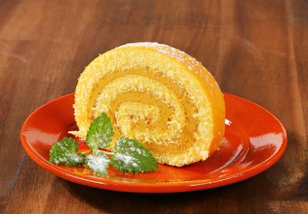 swiss roll: Swiss roll with peanut butter cream filling