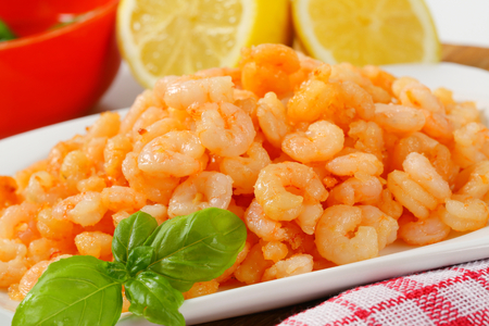 pan fried: Dish of spicy pan fried shrimps