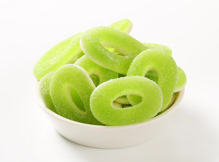 coated: Ring-shaped apple gummies coated in sugar Stock Photo