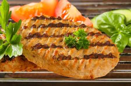 vegetarian hamburger: Grilled patties on barbecue grid