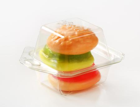 gummi: Studio shot of gummi hamburger candy Stock Photo